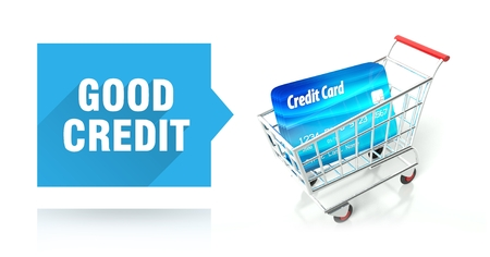 Good credit score concept with shopping cart Stock Photo - 26323495