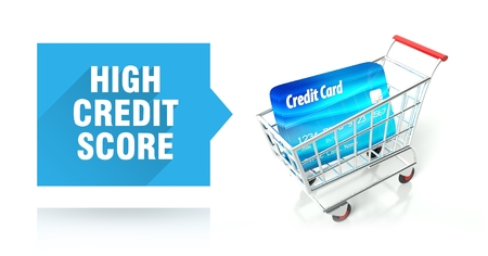 High credit score concept with shopping cart photo