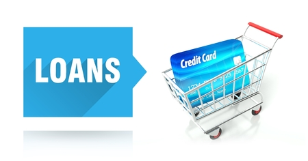 Loans concept with credit card and shopping cart photo