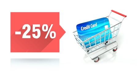 Minus 25 percent sale with credit card and shopping cart photo