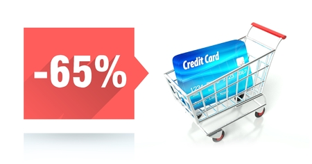 Minus 65 percent sale with credit card and shopping cart photo