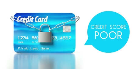 Poor credit score concept, card with padlock and chain Stock Photo - 26323545