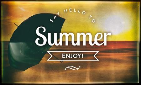 say hello: Say hello to summer, vintage conceptual poster