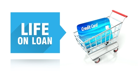 Life on loan concept with credit card and shopping cart photo