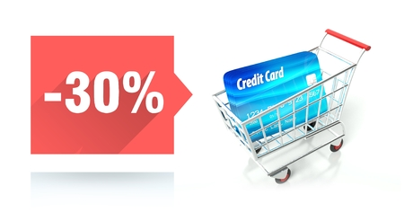 Minus 30 percent sale with credit card and shopping cart photo