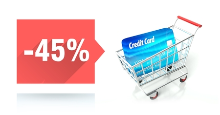 Minus 45 percent sale with credit card and shopping cart photo