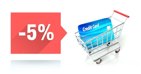 Minus 5 percent sale with credit card and shopping cart photo