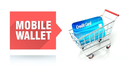 Mobile wallet concept with credit card and shopping cart Stock Photo - 26323622