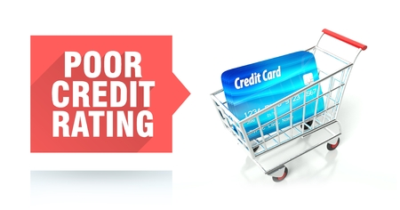 Poor credit rating concept with shopping cart Stock Photo - 26323666