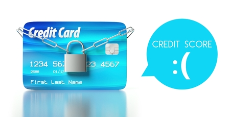 Poor credit score concept, card with padlock and chain photo