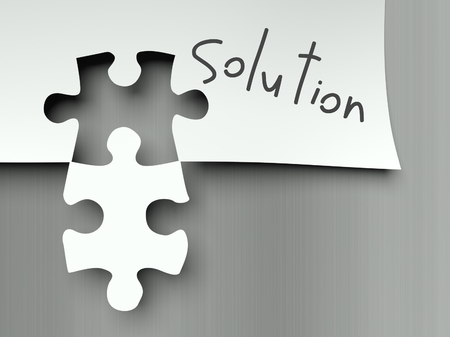 object complement: Solution concept with matching puzzle pieces Stock Photo