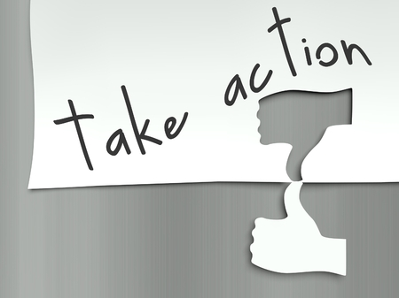 Take action concept, hand finger thumb up and down photo