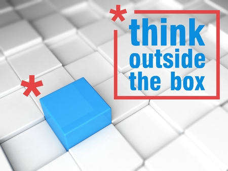 Think outside the box concept, one unique leader photo