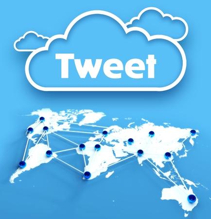 Tweet concept over communication world map Stock Photo - 26323751