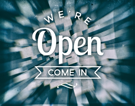 come in: Weare open come in, retro conceptual poster