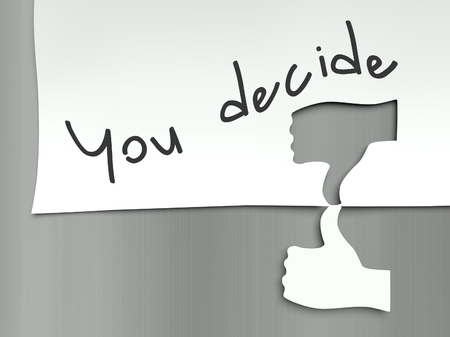 You decide concept, hand finger thumb up and down photo