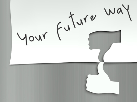 Your future way concept, hand finger thumb up and down photo