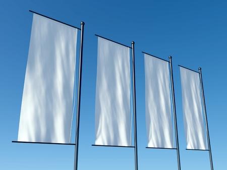 verticales: Banderas publicitarias en blanco 3d o vallas publicitarias