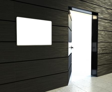 door casing: 3d empty frame and open door