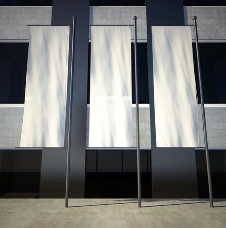 建物の壁に 3 d の空白のある街頭広告フラグ 写真素材 - 26440588