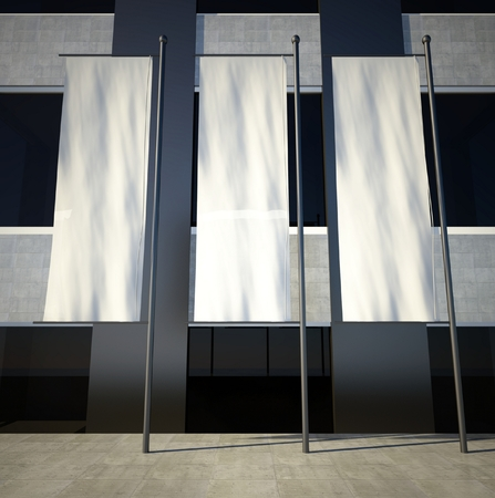 3d lege straat reclame vlaggen op gebouw muur