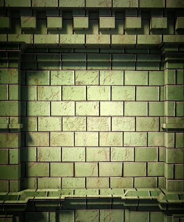 3d brick wall background, antique architecture photo