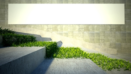 3d ecology concept, green grass on stairs and blank street advertising billboard photo