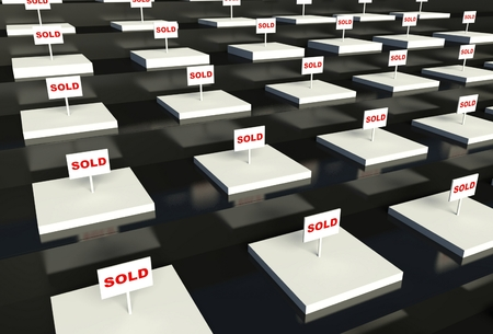 3d empty showcase with sold sign Stock Photo - 26440641