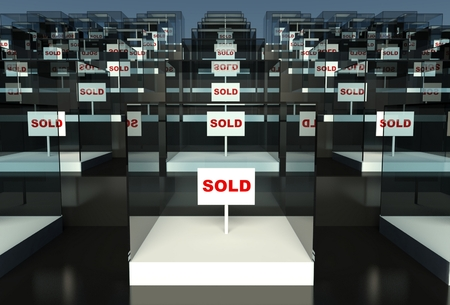 3d empty showcase with sold sign Stock Photo - 26440642