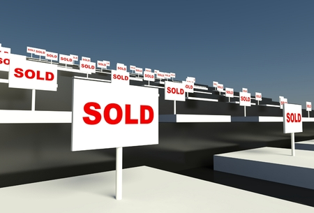 3d empty showcase with sold sign Stock Photo - 26440645