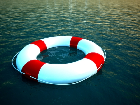 3d life ring floating on water, help symbol Stock Photo