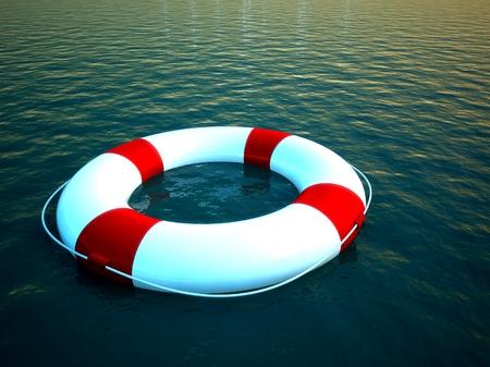 3d reddingsboei drijvend op het water, symbool van de hulp