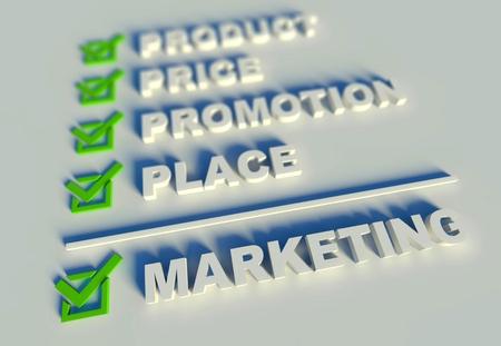 Concepto de marketing mix con palabras clave photo