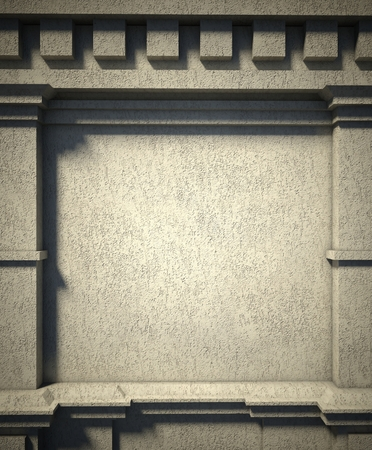 3d concrete wall background, antique architecture photo