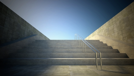 3d street view with stairs to sky photo