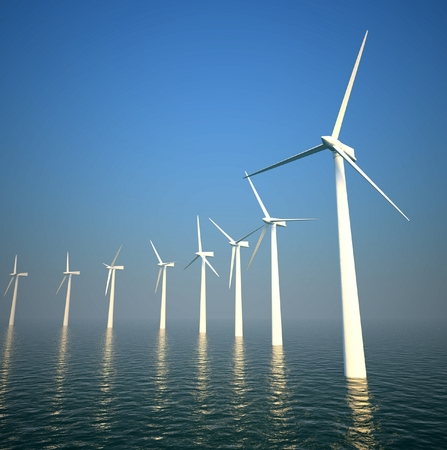 3d wind turbines producing energy in the sea Stock Photo