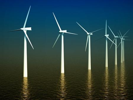 aero generator: 3d wind turbines producing energy in the sea Stock Photo
