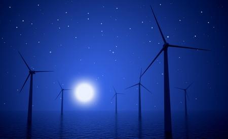 aero generator: 3d wind turbines producing energy in the sea at night