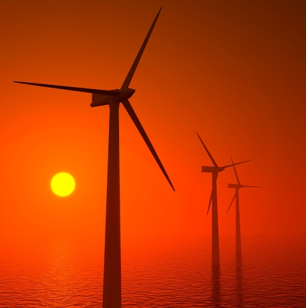 aero generator: 3d wind turbines producing energy in the sea, sunset