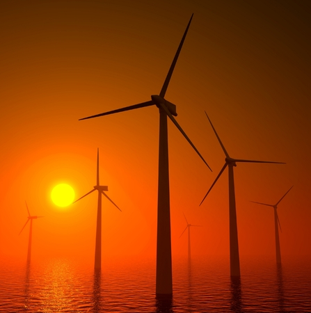 3d wind turbines producing energy in the sea, sunset photo
