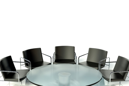 Conference table and chairs in meeting room on white background photo