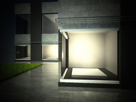Empty glass showcase, 3d exhibition space on street Stock Photo