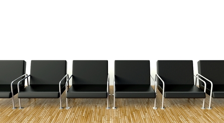 Office interior with armchairs in waiting room on white wall background photo