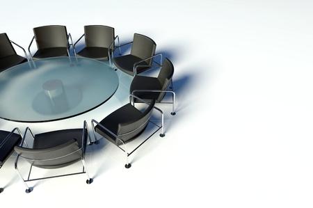 sala de reuniones: Mesa y sillas de conferencia en la sala de reuniones en el fondo blanco