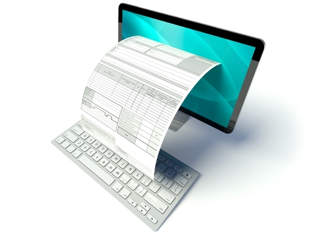 세금 양식이나 청구서와 데스크탑 컴퓨터 화면 스톡 콘텐츠