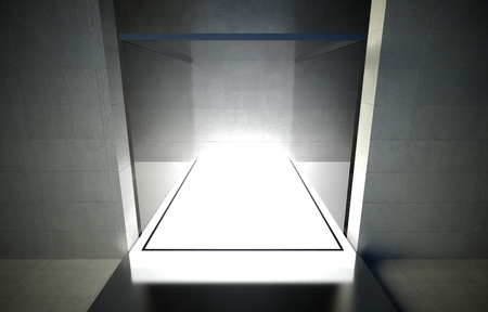 3d exhibition space, Empty glass showcase photo