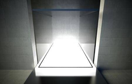 3d exhibition space, Empty glass showcase Stock Photo - 26441099