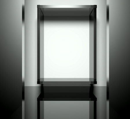 3d exhibition space, Empty glass showcase Stock Photo - 26441101