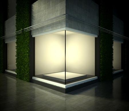 Vitrine de verre vide, espace d'exposition 3d sur la rue