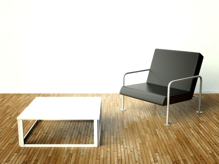 Modern interior with chairs and table on white wall background photo